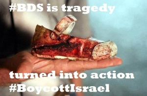 A child's bloodied shoe is shown in Gaza.