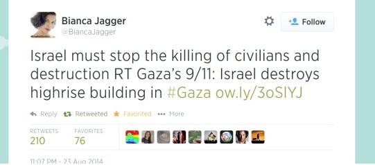 Boycott israel: Bianca Jagger